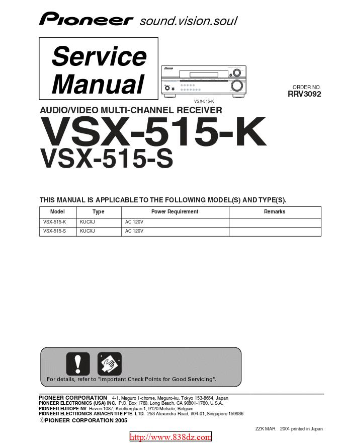 pioneer 先锋VSX-515-S功放维修手册