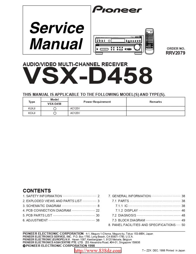pioneer 先锋VSX-D458功放维修手册