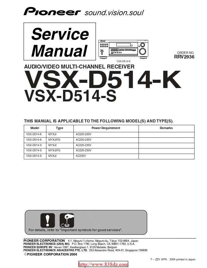 pioneer 先锋VSX-D514-S功放维修手册