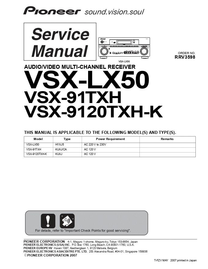 pioneer 先锋 VSX-91TXH功放维修手册
