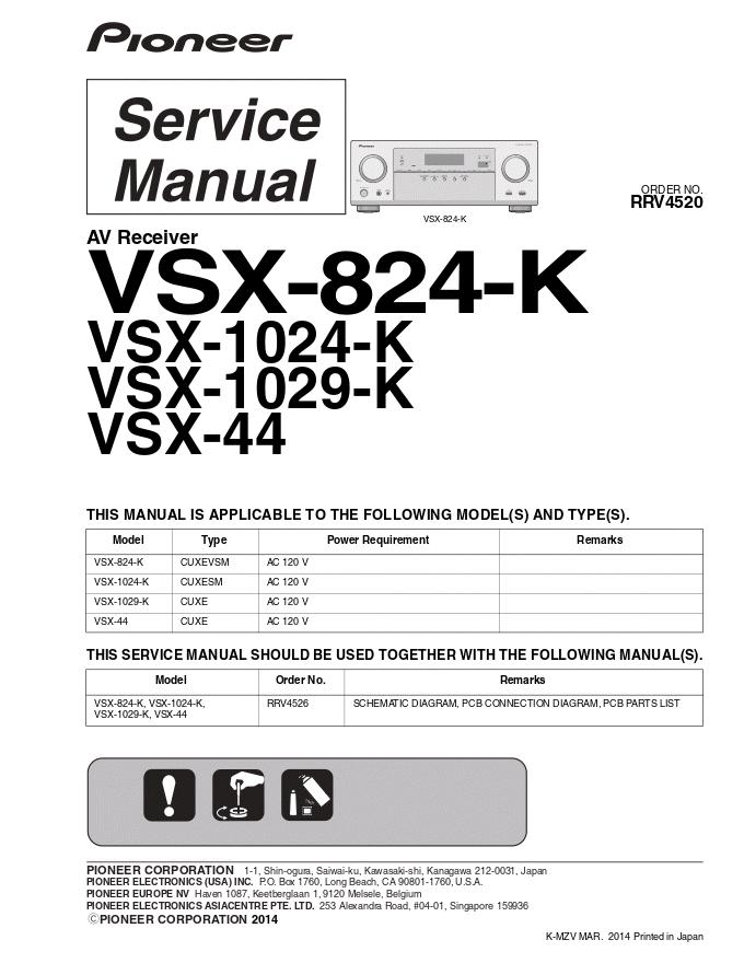 PIONEER先锋VSX-824-K VSX-1024-K VSX-1029-K VSX-44功放维修手册