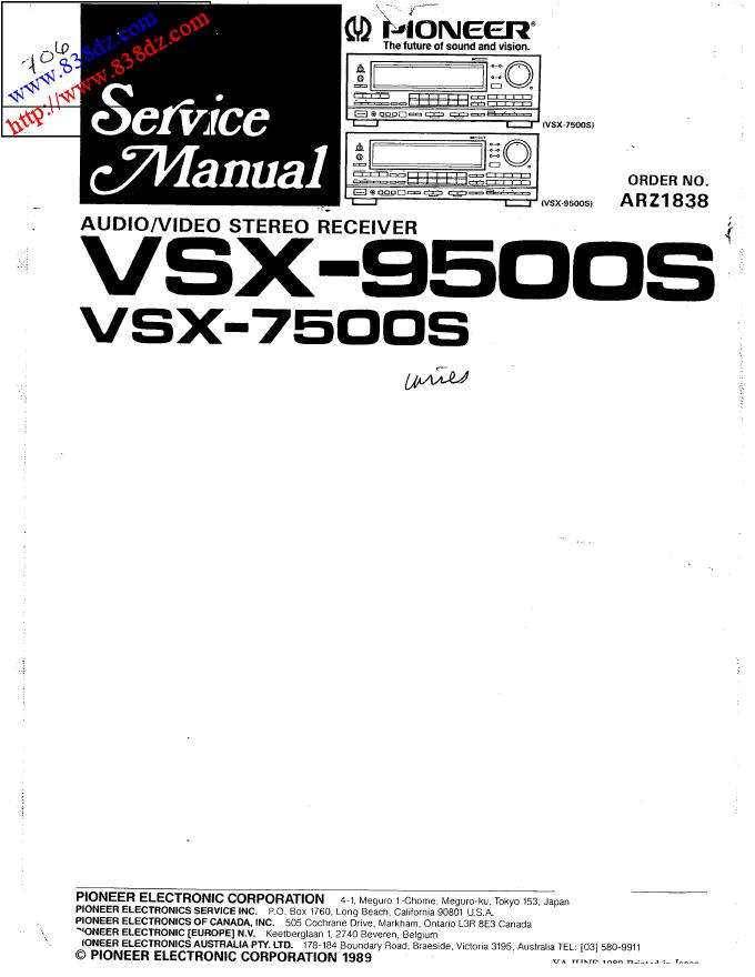 pioneer先锋VSX-9500S VSX-7500S功放维修手册