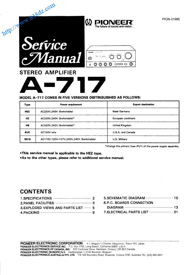 pioneer先锋 A-717音响功放电路图 维修手册