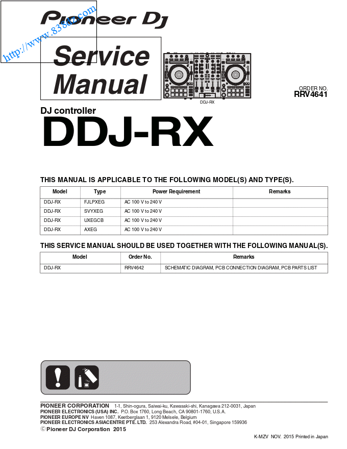 pioneer先锋 DDJ-RX打碟机数码控制器 维修手册