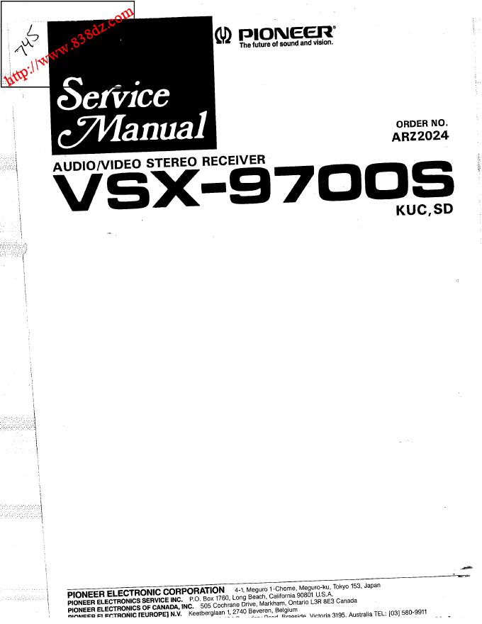 pioneer先锋VSX-9700S功放维修手册音频/视频多通道接收机维修电路图