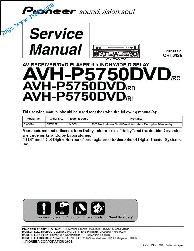 pioneer先锋AVH-P5750DVD音响功放电路图,维修手册