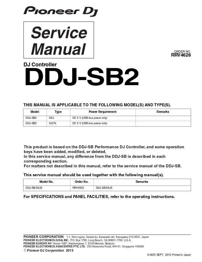 pioneer先锋 DDJ-SB2 DJ控制器维修手册