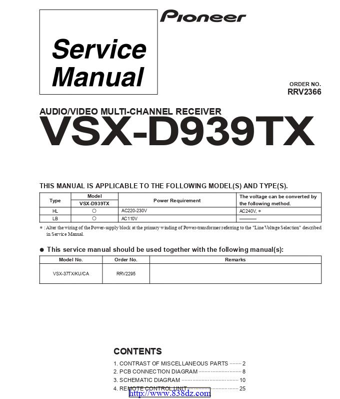 pioneer先锋 VSX-D939TX功放维修手册