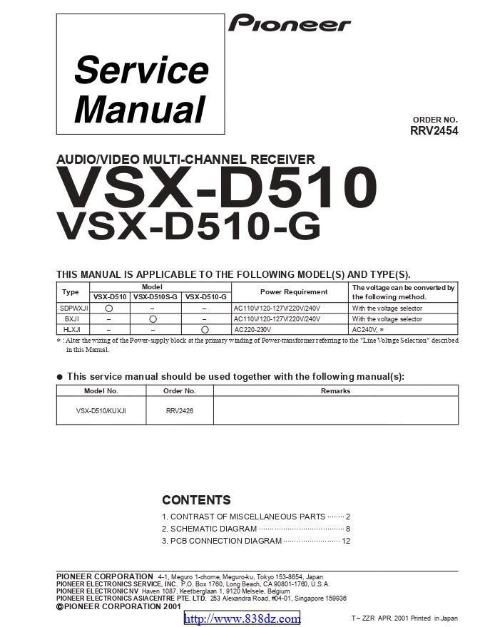 pioneer先锋 VSX-D510-G功放维修手册