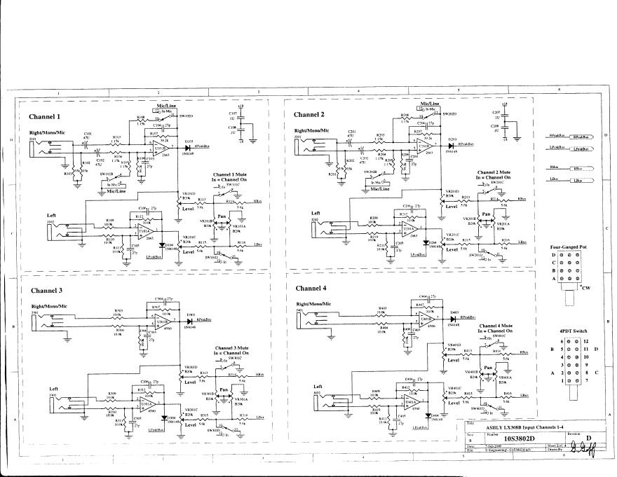 ASHLY LX-308B 立体声线混频器维修电路图