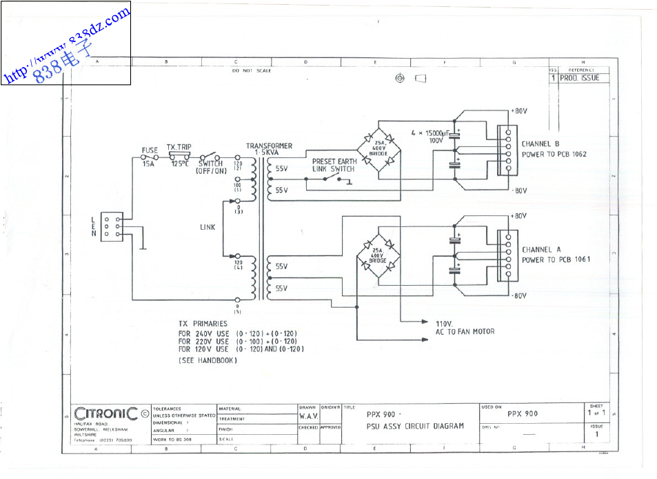 CITRONIC PPX-900功放维修电路图