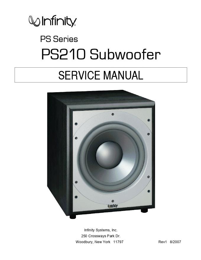 Infinity燕飞利仕 PS210有源音箱 维修手册