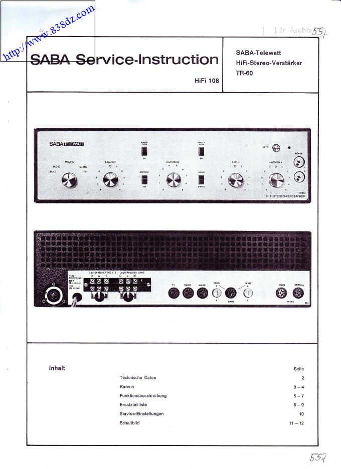 saba tr-60音响功放电路 维修手册