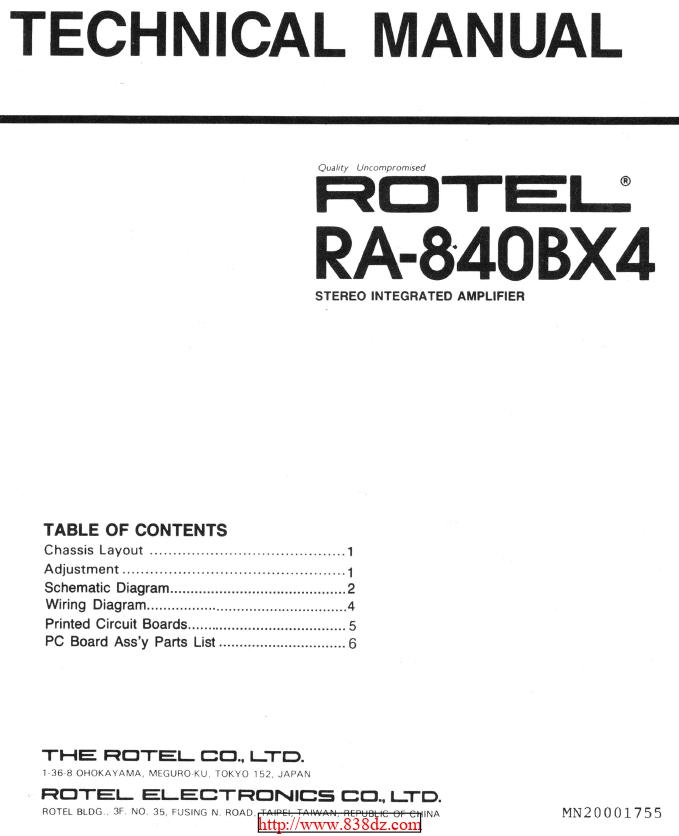 Rotel RA-840BX4功率放大器维修手册