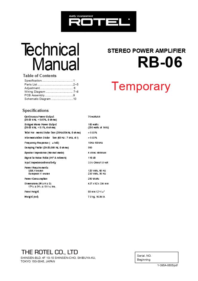 ROTEL乐得RB-06功放维修手册