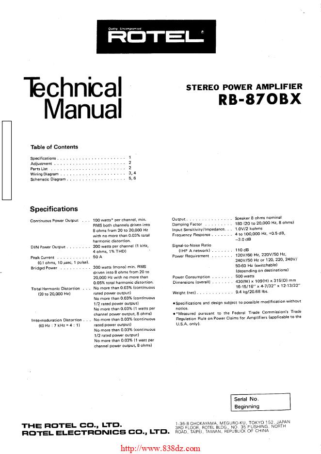 ROTEL乐得RB-870BX功放维修手册