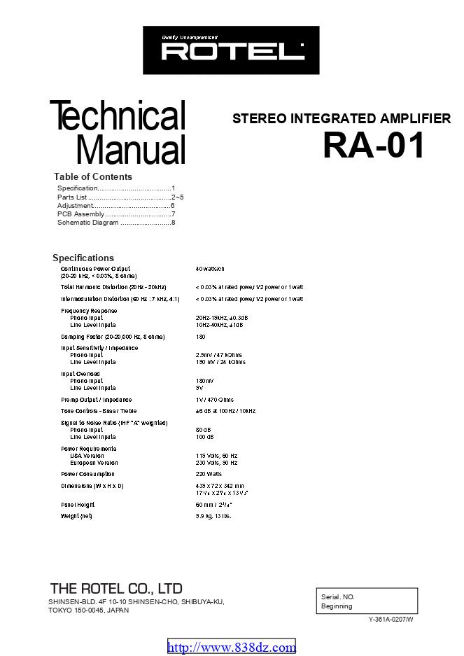Rotel RA-01功放维修手册