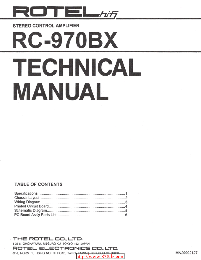 Rotel 乐得/路遥RC-970BX 功放前级维修电路图