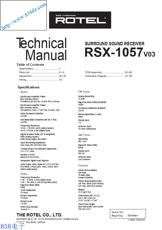 ROTEL乐得RSX-1057 V03 功放维修手册