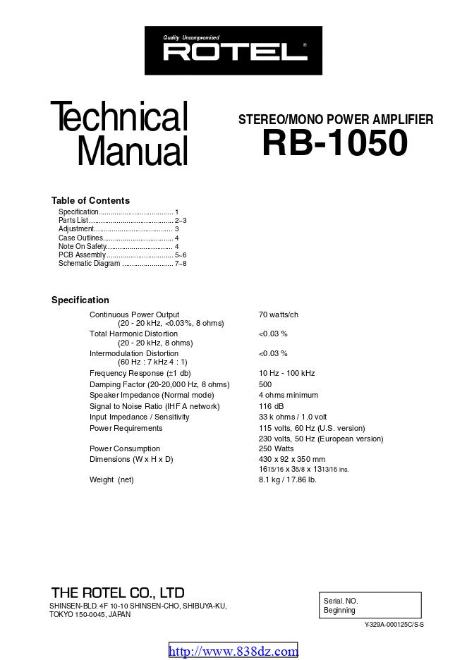 Rotel RB-1050功率放大器维修手册