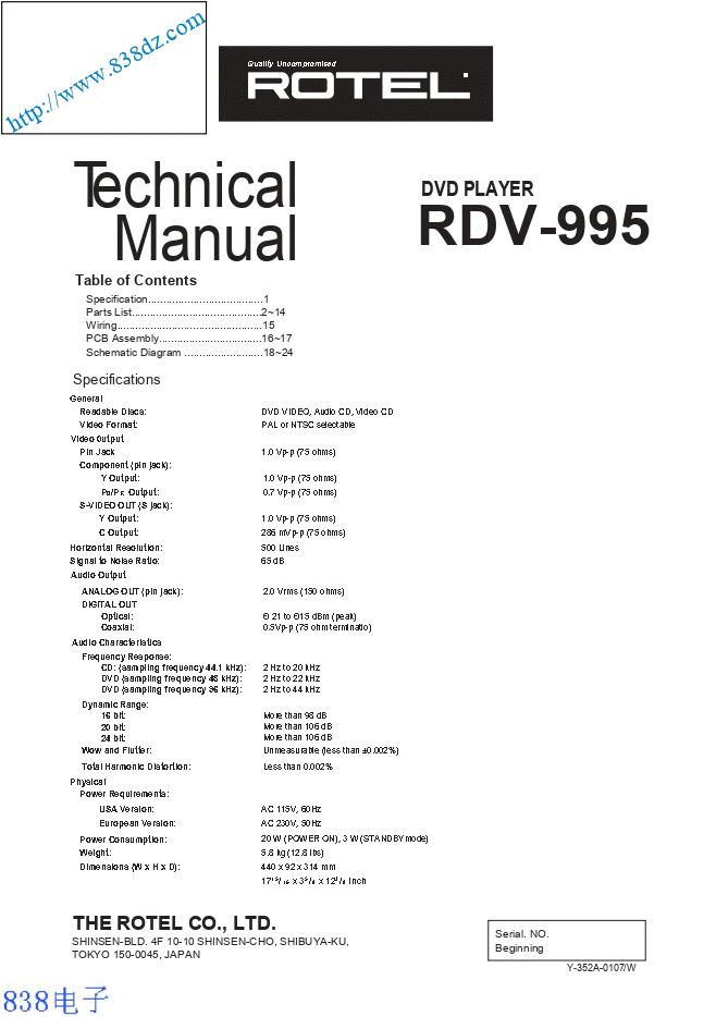 ROTEL乐得RDV-995 DVD播放器维修手册
