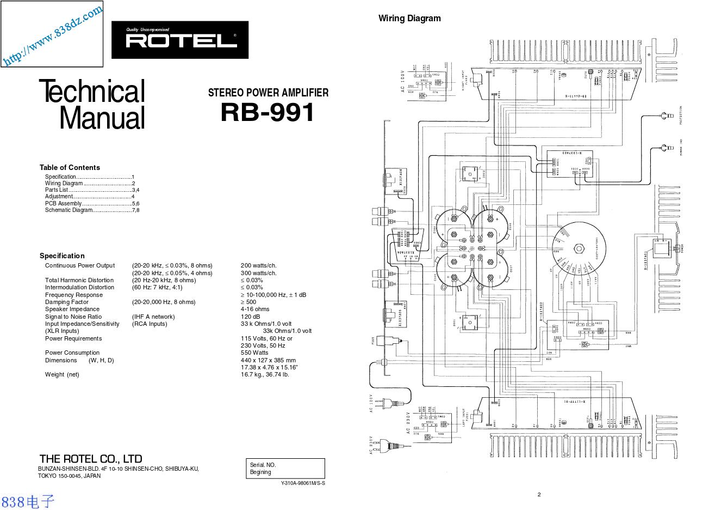 ROTEL乐得RB-991功放维修手册
