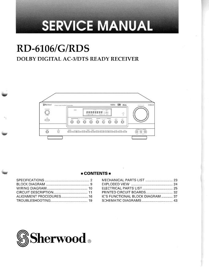 狮龙 sherwood RD-6106 RD-6106G功放维修手册