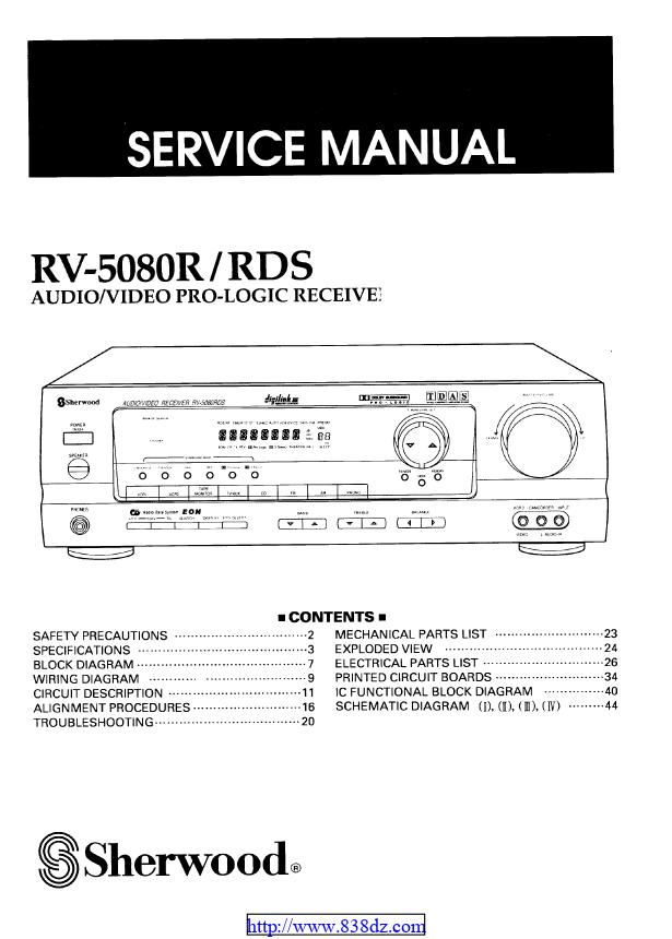 狮龙 sherwood RV-5080R功放维修手册