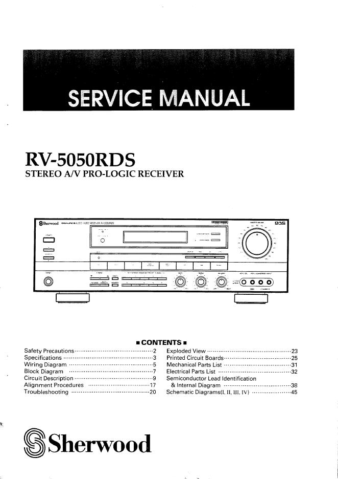 狮龙 sherwood RV-5050RDS功放维修手册