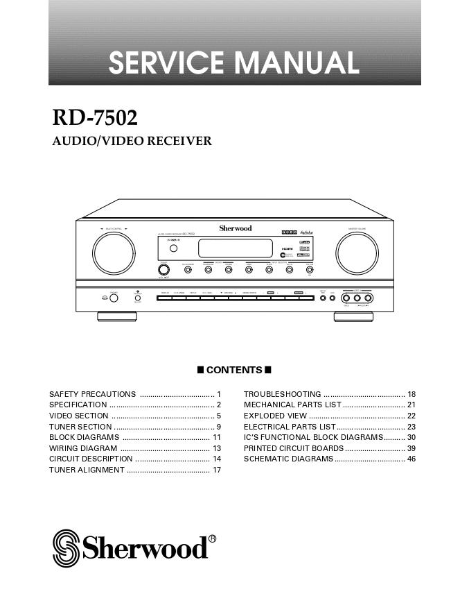 SHERWOOD狮龙RD-7502收扩机维修手册