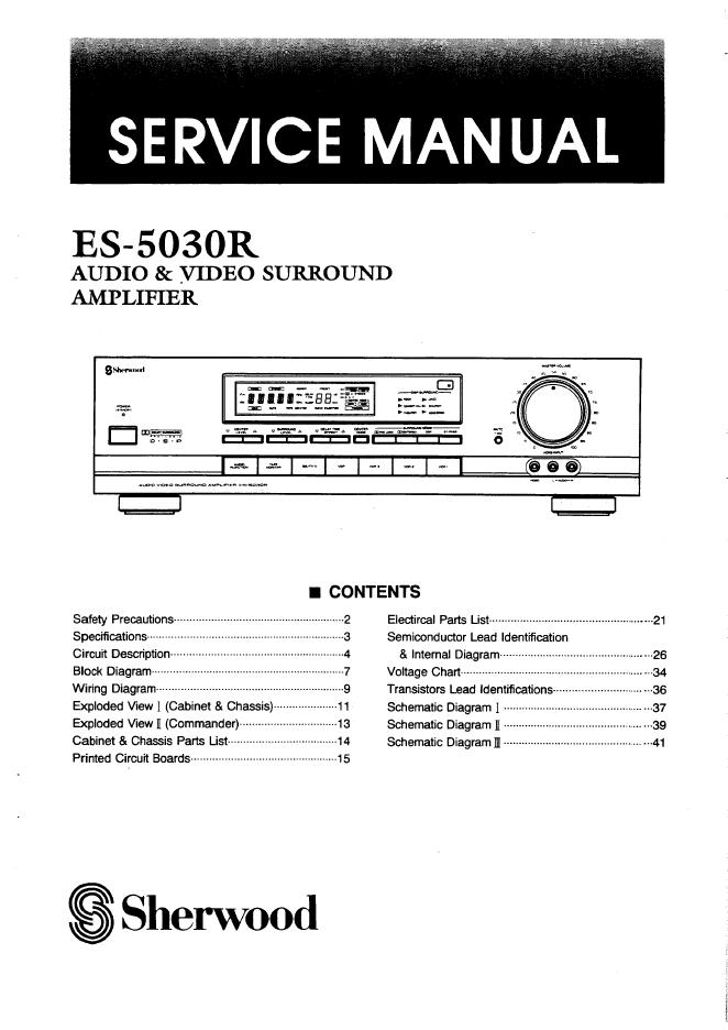 SHERWOOD狮龙ES-5030r功放维修手册