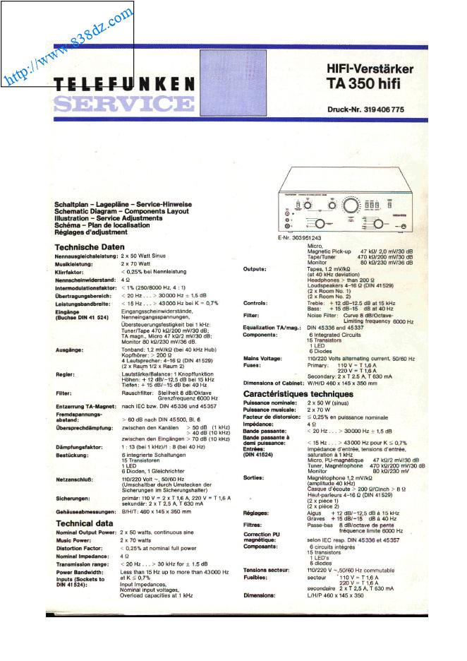 telefunken德律风根TA350音响功放 维修手册