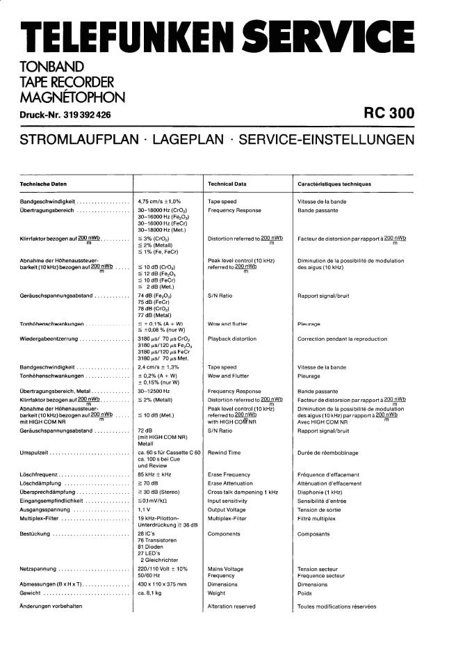 TELEFUNKEN德律风根RC300手册