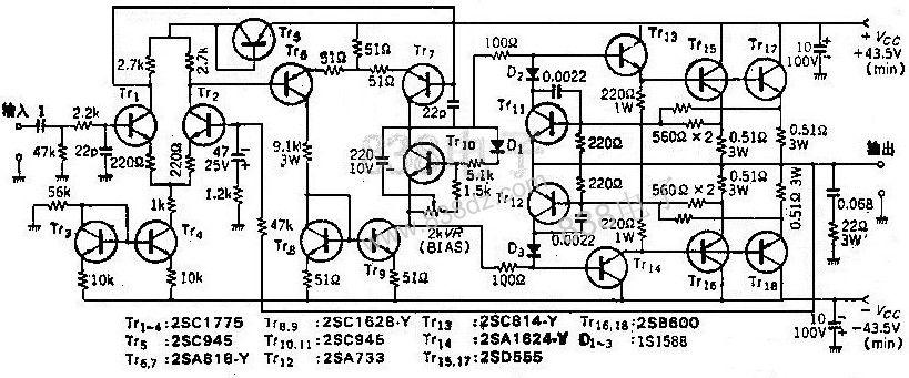 晶体管推挽射随器电路图