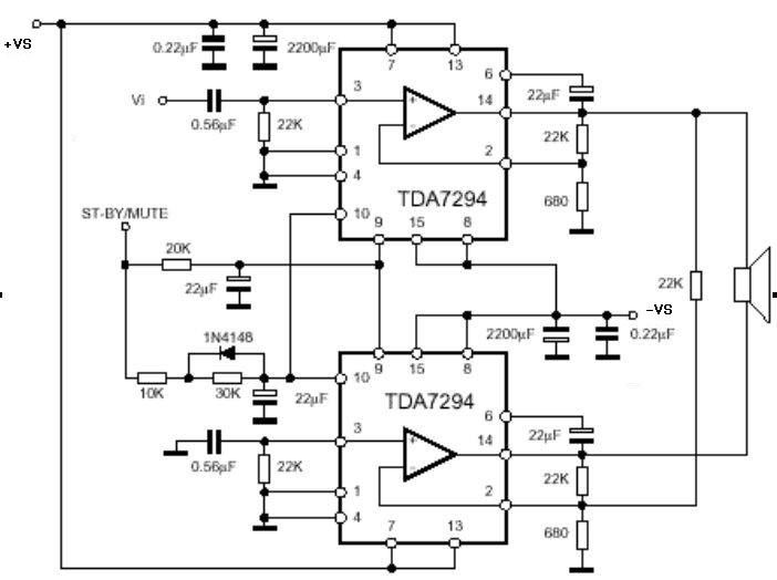 TDA7294是ST意法公司一款新型DMOS大功率音频功放积体电路,它具有较宽范围的工作电压,(VCC+VEE)=80V;较高的输出功率(高达100W的音乐输出功率) ,并且具有静音待机功能,很小的杂讯和失真以及过热、短路保护功能。