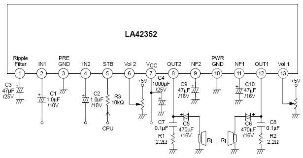 LA42352 5瓦2声道功率放大器 直流音量控制 特征: .输出功率 5W 2声道(Vcc= 18V,RL= 8 ,总谐波失真= 10% ) .内置直流音量控制。 .内置待机功能。 .内置过热保护。  LA42352引脚图,方框图 引脚功能: 1 ripple filter纹波滤波器 2 1 IN 信号输入 3 PRE GND