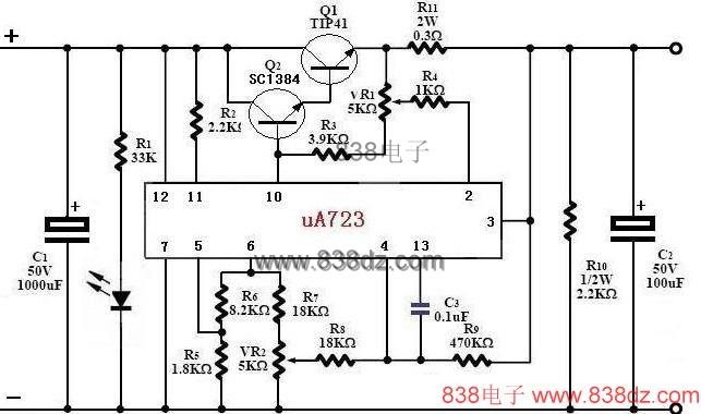 稳压专用集成电路– μA723 参数 下图是μA723的方块图,整个IC的组成包括: (A)参考电压输出,第六脚输出7.15V。 (B)由运算放大器组成的误差放大器。 (C) Q14,Q15组成的串联达林顿晶体管。 (D)用作限流的Q16晶体管。 (E)输入电压范围: 9.5V ~ 40V。 (F)输出电压范围: 2V ~ 37V。 (G)参考电压输出:7.