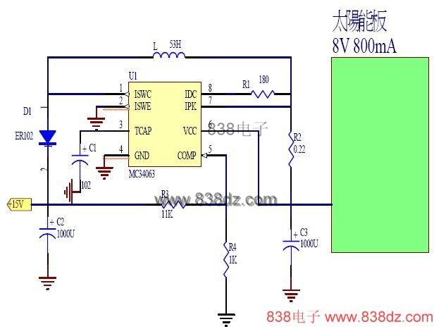 当电压输入15V时,经过R13(3.3K)及Z1(6-B1),降压至6V,此时驱动NPN(TB123)的B脚时,E脚输出6V电压至D2(4148)及R6(10),供应BT(电池)充电。 当电压经过R10(10K)及D10(4148),降压0.6V至B点,由于R5(1K)与SVR1(1K)调变,分压出来,电压通过D3(4148)至OP(LM358)第5只脚正端。若C点的电压侦测超过0.