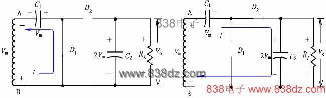 是由电容滤波器过滤后的半波讯号,故此倍压电    路称为半波电压电路.
