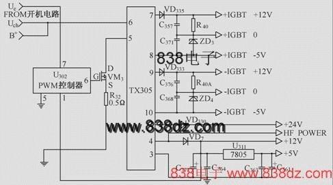 斩波电路,将单一的直流电压(电池电压)转换为高压
