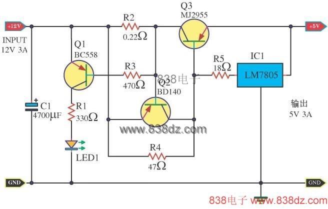 7805 扩流电源电路图