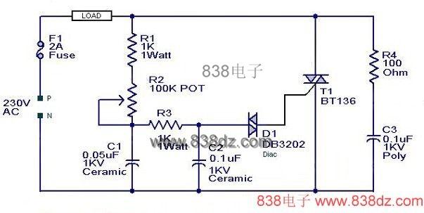 简单 调节器/调光器电路图Triacs