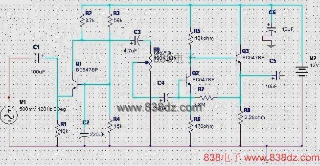 动圈式麦克风前置放大器电路-动圈话筒放大电路图