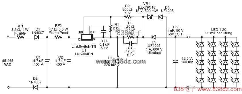 照明电路图-lnk304pn