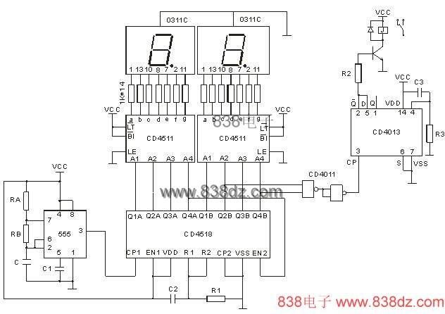 当电路上电时,C2、R1和C3、R3产生一个微分尖脉冲,使计数器CD4518和D型触发器CD4013复位清零。此时D型触发器的Q反为高电平,三极管导通,继电器吸合。 该定时器由555集成电路和电阻RA、RB、电容器C,产生1分钟的的时基信号,经1/2CD4518分频(10分频)后Q4A的下降沿触发下一个分频器。同时Q1A、Q2A、Q3A、Q4A输出BCD码送入CD4511七段译码器驱动LED数码管。当当计数器接受第100个脉冲时,Q1B、Q2B、Q3B、Q4B(0101)时,与非门CD4011输出一个下降