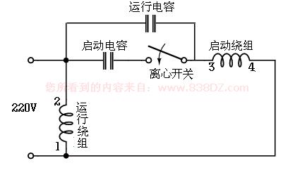单相电机电容接线图-220v接线图-接法-电容的作用-正
