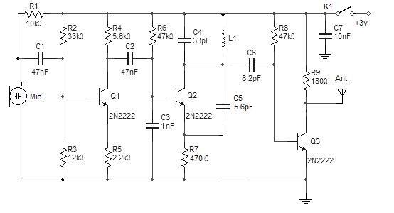 实用电子电路  简单的分立元件无线麦克风发射