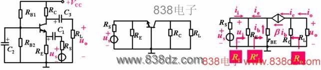 """3.输出电阻  共集电极电路特点 共集电极电路用途 1.Uo与Ui同相,具有电压跟随作用 1.高阻抗输入级 2.无电压放大作用 Au<1 2.低阻抗输出级 3.输入电阻高;输出电阻低 3.中间隔离级 一、共基极放大电路 共基极放大电路如下图所示。由图可见,交流信号通过晶体三极管基极旁路电容C2接地,因此输入信号ui由发射极引入、输出信号uo由集电极引出,它们都以基极为公共端,故称共基极放大电路。从直流通路看,也构成分压式电流负反馈偏置。  (一)求""""Q""""略 (二)性能指标分析"""