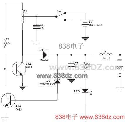 3v升压电路-3v-9v电池升压电路-二极管电容电感dc