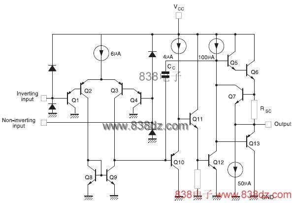 lm324/lm124/lm224集成电路内部电路图 1/4